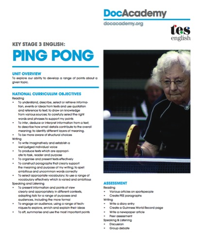 Screen Shot of Ping Pong Care Campaign Lesson Plan for Key Stage 3